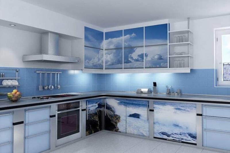 Цветовое решение для кухни 2017- голубой 1