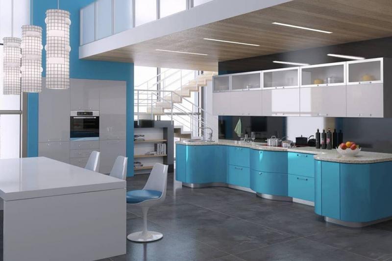 Цветовое решение для кухни 2017- голубой 3