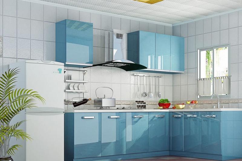 Цветовое решение для кухни 2017- голубой 4