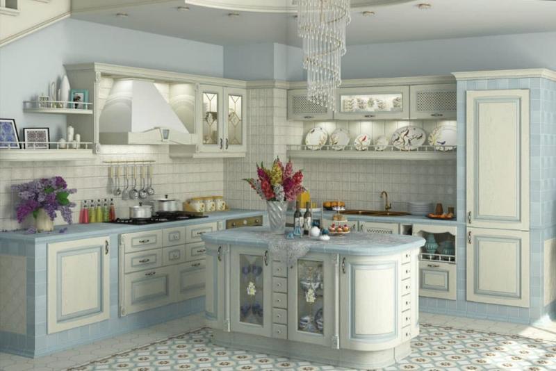 Цветовое решение для кухни 2017- голубой 5