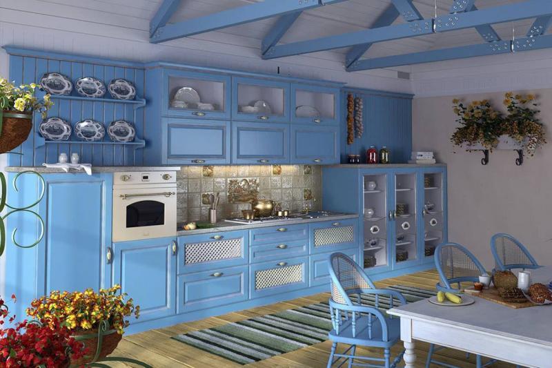 Цветовое решение для кухни 2017 -голубой 2