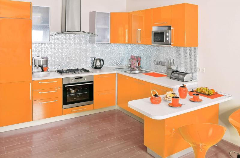 Цветовое решение для кухни 2017 -оранжевый 3