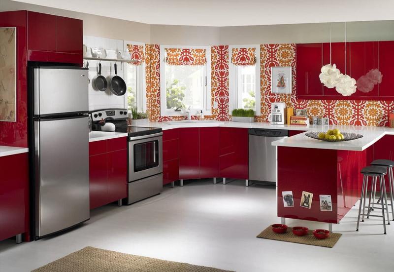 Цветовое решение для кухни в 2017- красный 2
