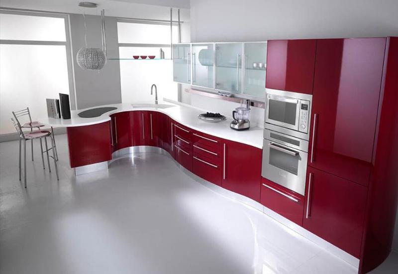 Цветовое решение для кухни в 2017- красный 3