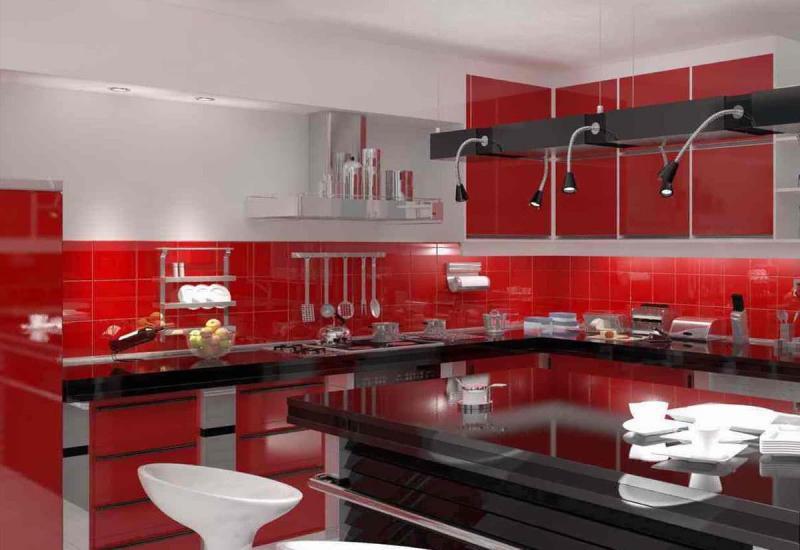 Цветовое решение для кухни в 2017- красный 5