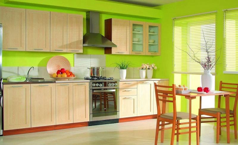 Фото кухни в цвете лайм 1