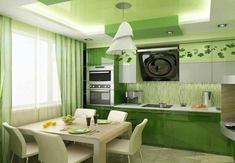 Фото кухни в цвете greenery 2