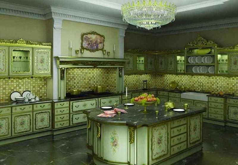 Фото кухни в цвете greenery 3