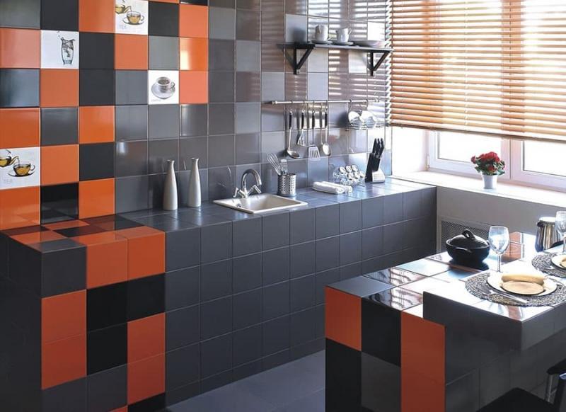 Кафель в интерьере кухни 3