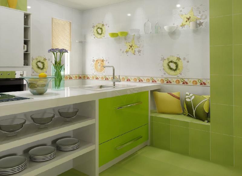 Кафель в интерьере кухни 5