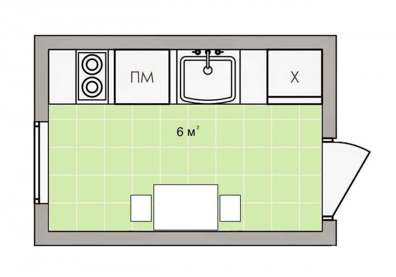 Обустройство кухни 6 кв.м. 1