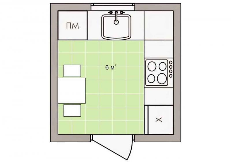 Обустройство кухни 6 кв.м. 3