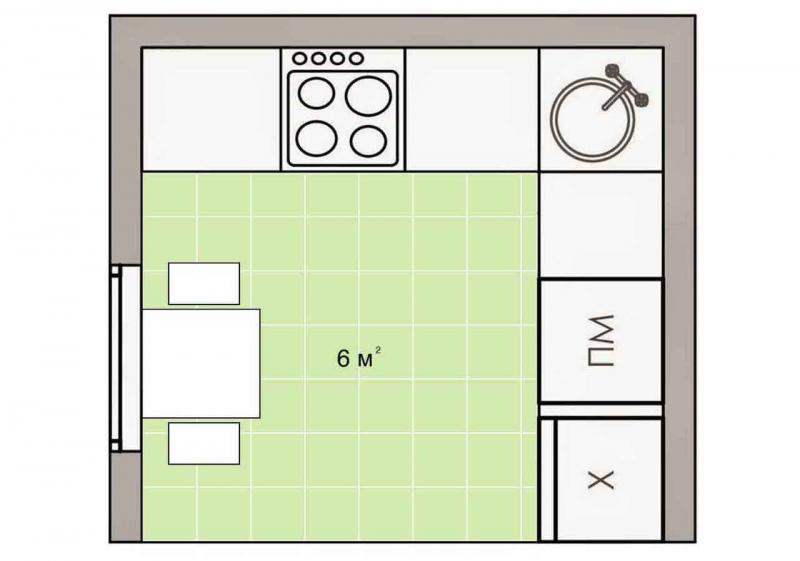 Обустройство кухни 6 кв.м. 5