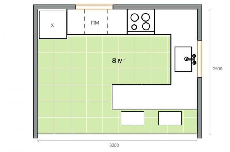 Обустройство кухни 8 кв.м 1