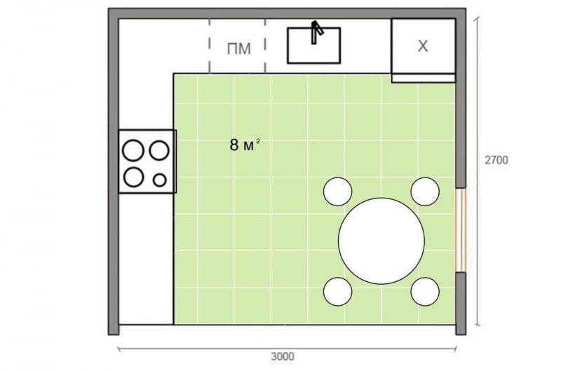 Обустройство кухни 8 кв.м 3