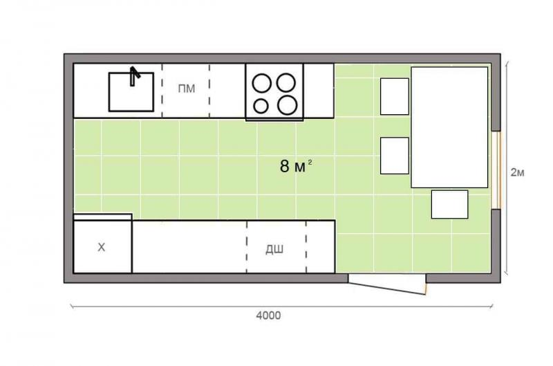 Обустройство кухни 8 кв.м 5