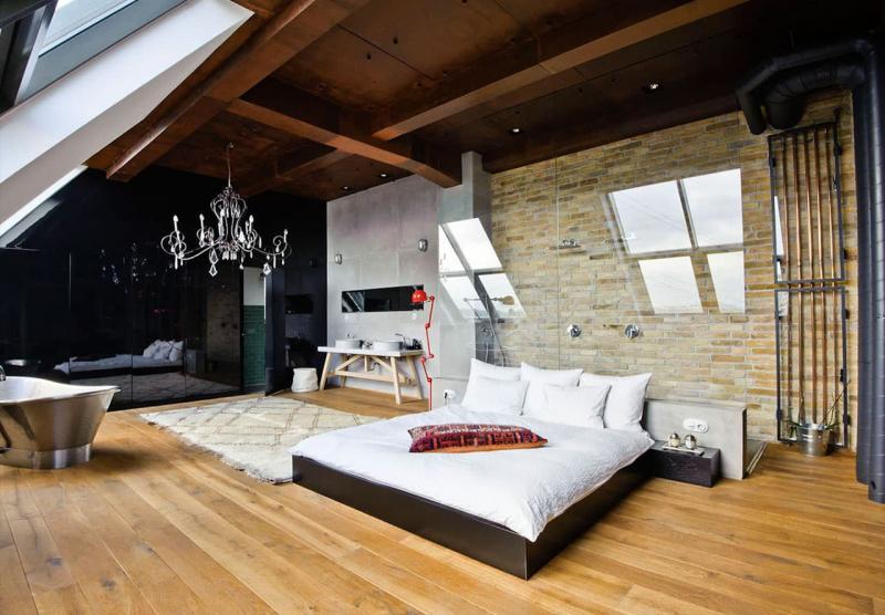 Дизайн спальни в стиле лофт - фото 1