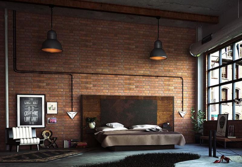 Дизайн спальни в стиле лофт - фото 3