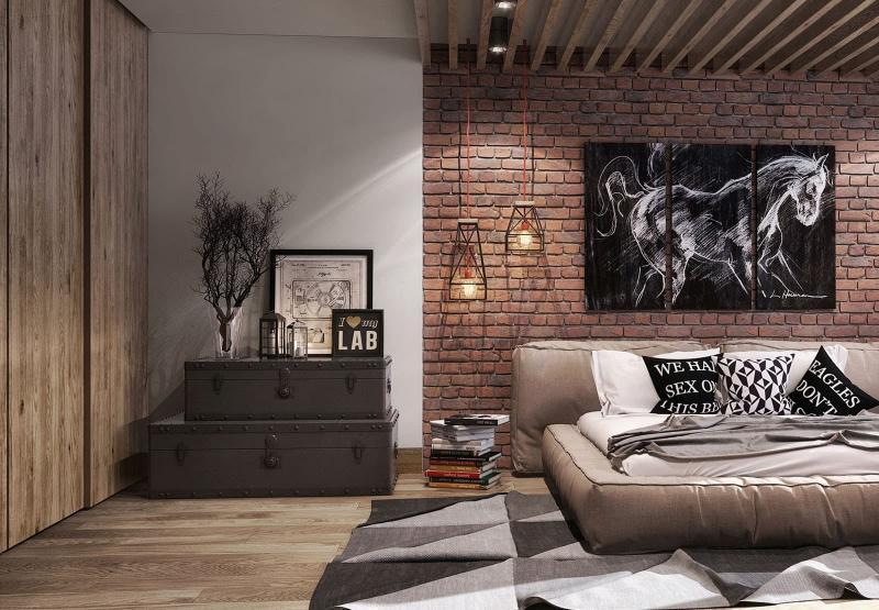 Дизайн спальни в стиле лофт - фото 5