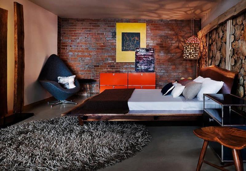 Дизайн спальни в стиле лофт - фото 6