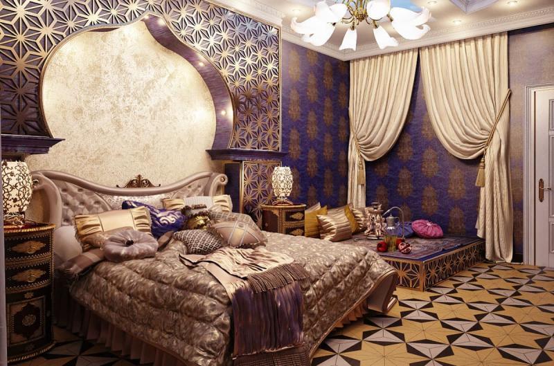 Дизайн спальни в восточном стиле - фото 6