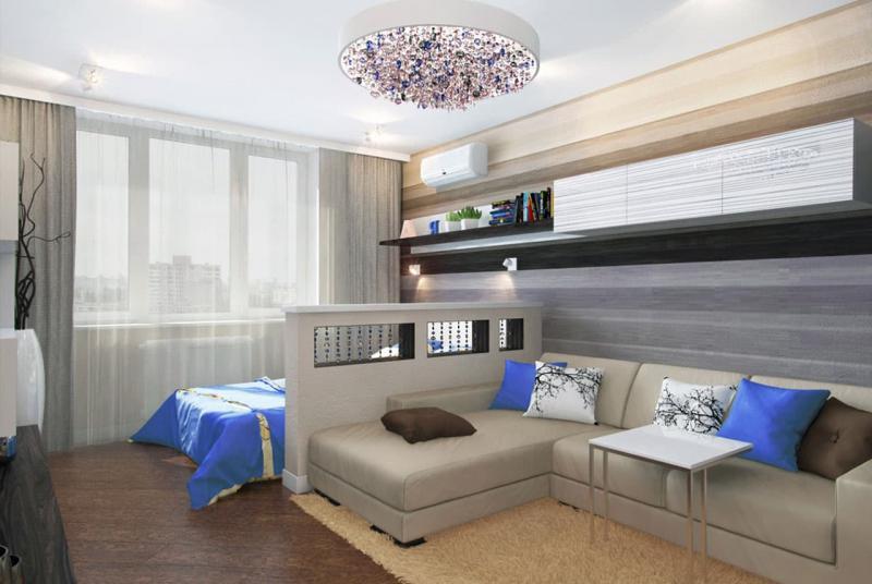 Интерьер спальни-гостиной 2