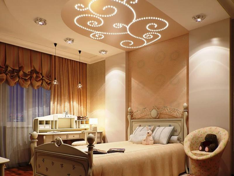 Изголовье-потолок в интерьере спальни 2