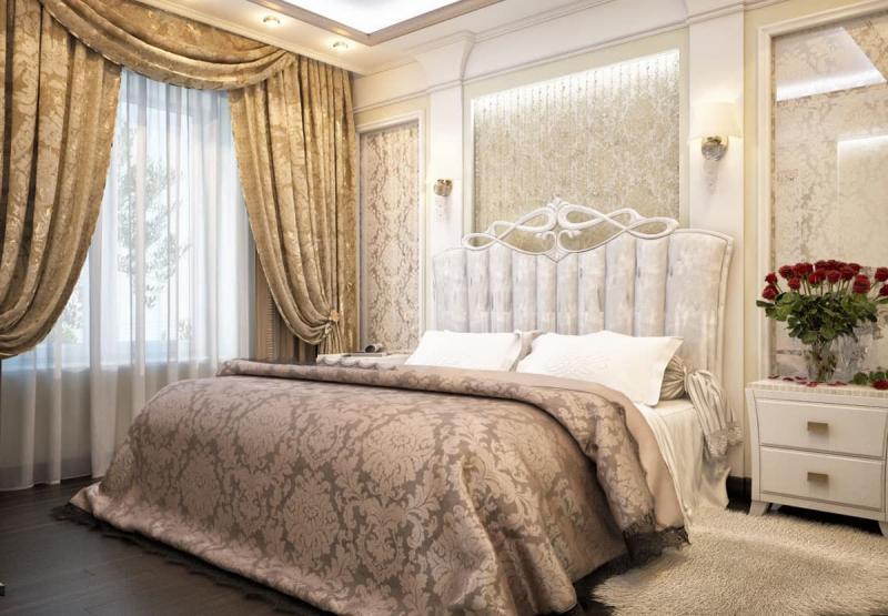 Изголовье кровати из ткани 1