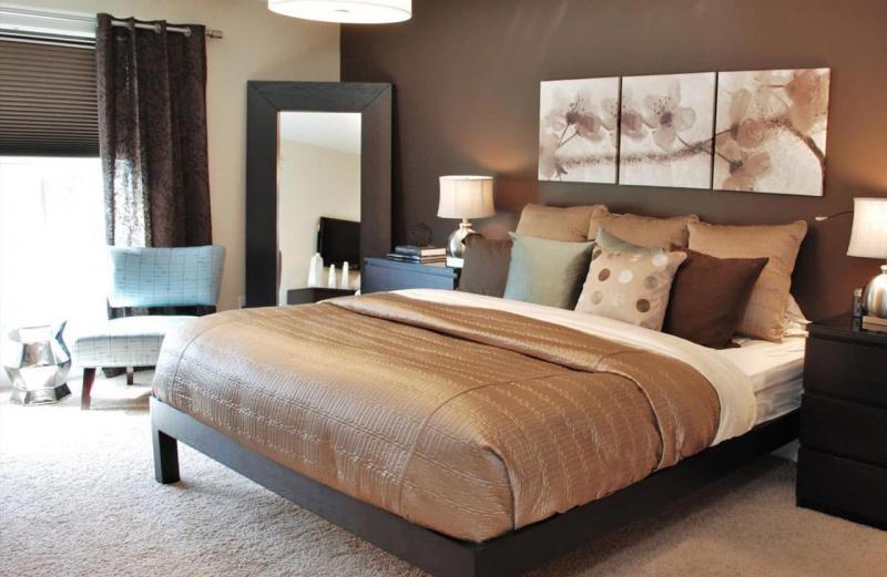 Комбинирование цвета в интерьере спальни 2