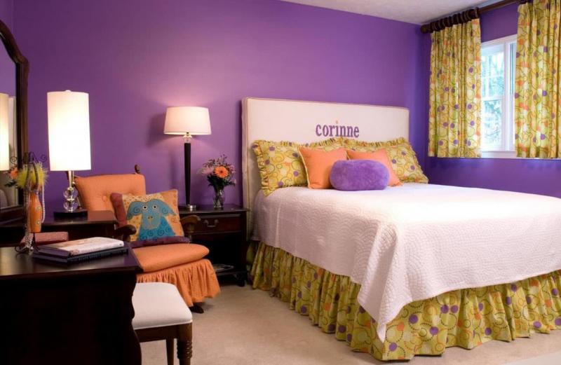 Комбинирование цвета в интерьере спальни 3