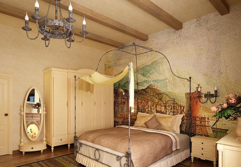 Оформление потолка в интерьере спальни 3