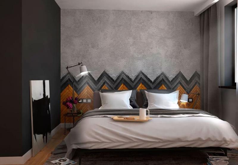 Оформление стен в спальне 1
