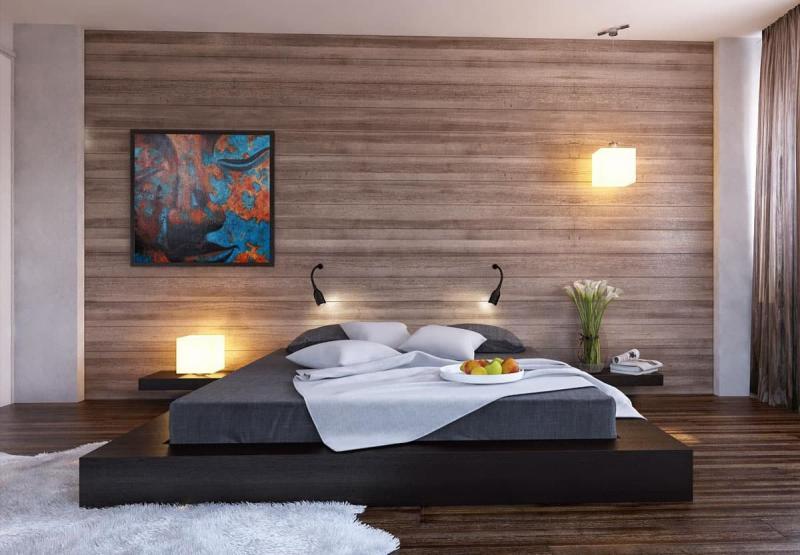 Оформление стен в спальне 2