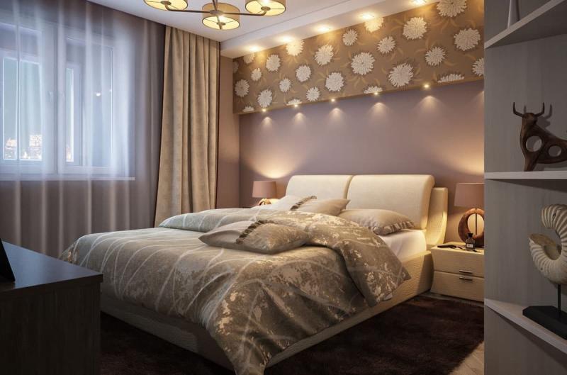 Освещение в интерьере спальни 3