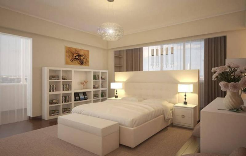 Спальня в теплых пастельных тонах