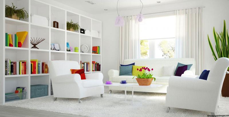 Белый цвет в дизайне гостиной - фото 3