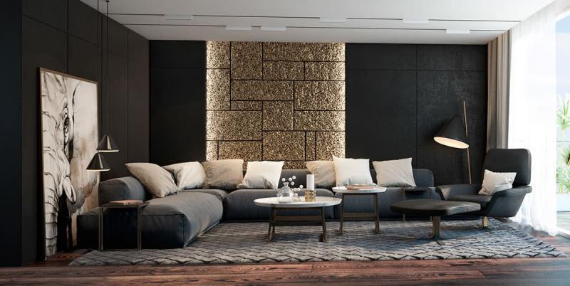 Черный цвет в интерьере гостиной 1