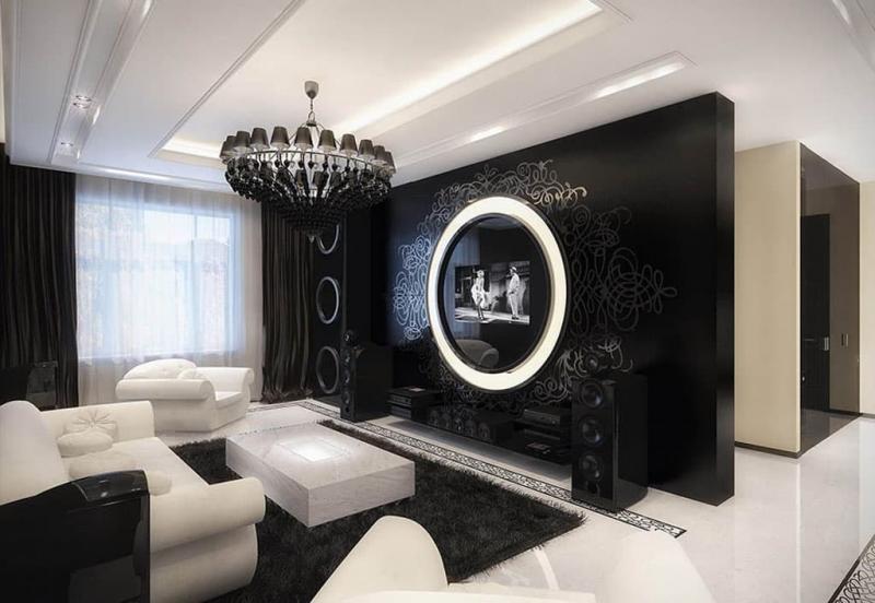 Черный цвет в интерьере гостиной 2