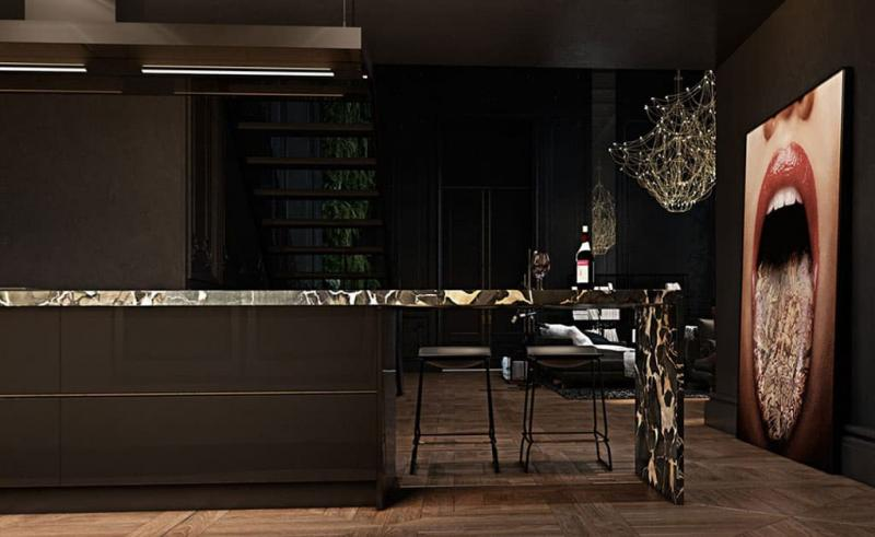 Черный цвет в интерьере гостиной 3