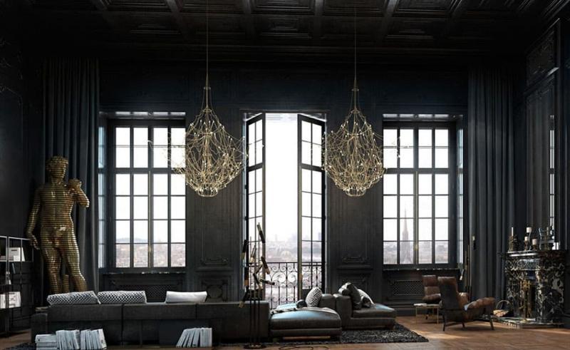 Черный цвет в интерьере гостиной 5