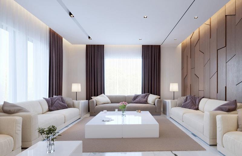 Интерьер большой гостиной 11