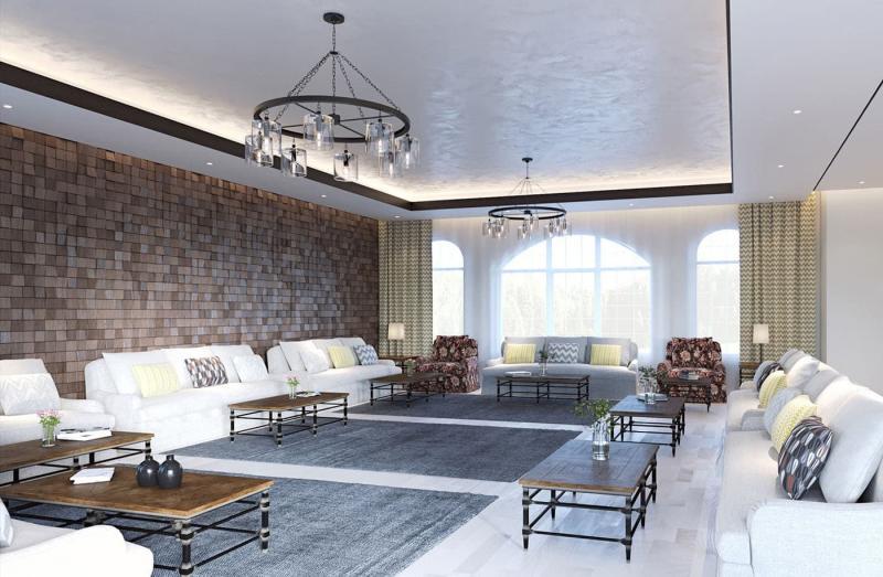 Интерьер большой гостиной 3