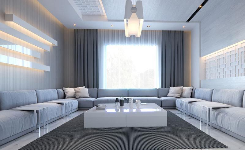Интерьер большой гостиной 4