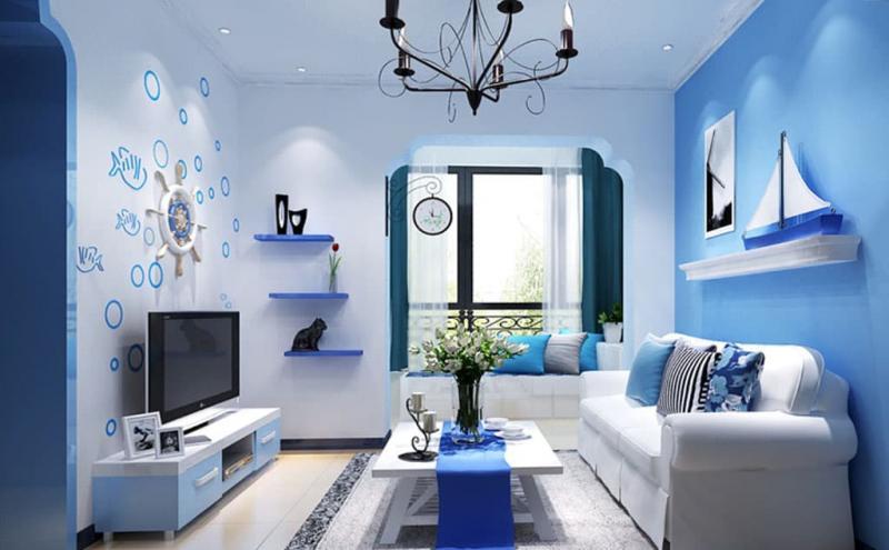 Оттенок Air Blue в дизайне гостиной 1
