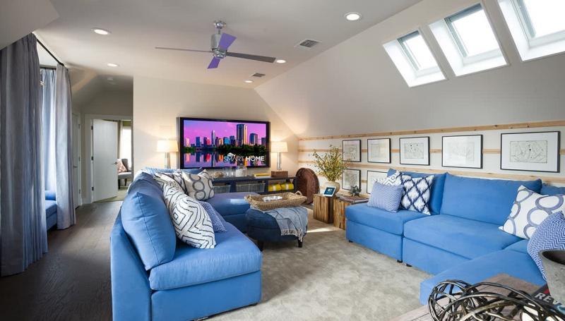 Оттенок Air Blue в дизайне гостиной 2