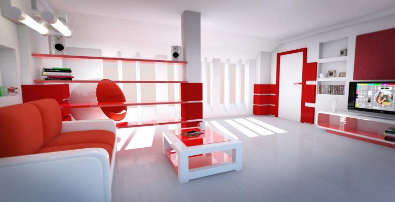 Оттенок Aurora Red в интерьере гостиной 4