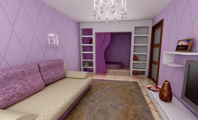 Оттенок Bodacious в интерьере гостиной 2