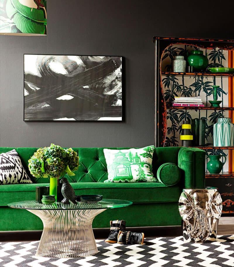 Оттенок Greenery в дизайне гостиной - фото 5