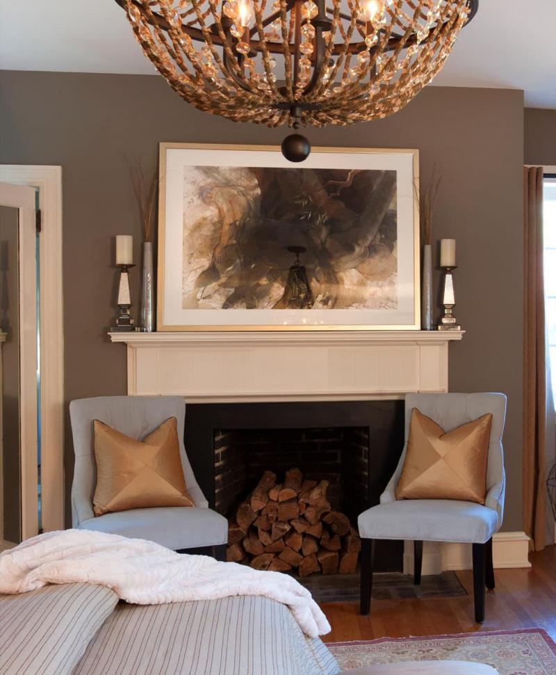 Оттенок Warm Taupe в интерьере гостиной 4