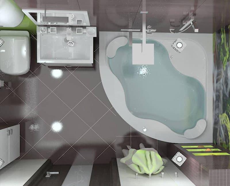 Дизайн ванной комнаты 5 кв.м 2